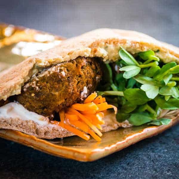 Hand-crafted pita falafel at Ellie's Bakery in Providence, RI
