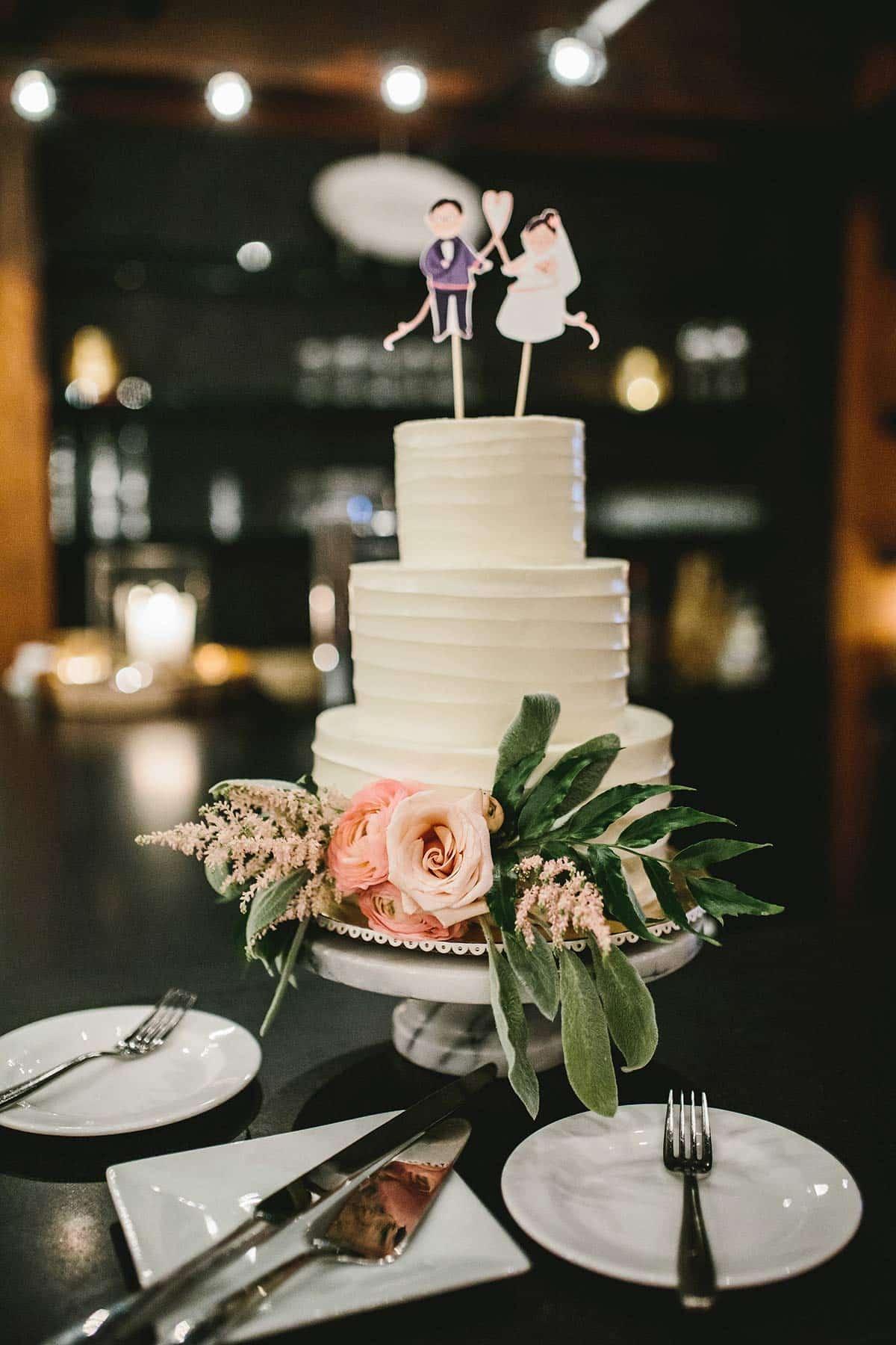 Custom celebration cake with flowers